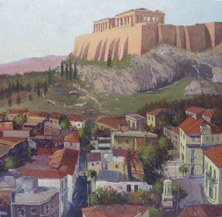 """Under Acropolis"" 80X80 cm oil painting by Babis Douzepis"