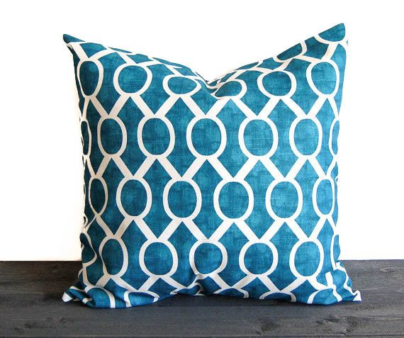 """Teal blue throw pillow cover One 20"""" x 20"""" cushion cover turquoise teal throw pillow Sydney"""