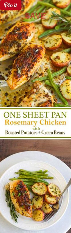 One Sheet Pan Rosemary Chicken with Potatoes and Green Beans - One sheet pan lemon rosemary chicken with potatoes and green beans. The rosemary chicken is so crispy! Simple enough for weeknight dinners . - Ingredients Gluten free Meat 4 Chicken breasts, bone-in skin-on Produce 4 tsp Garlic ½ lb Green beans 1 tsp Lemon, zest 1 lb Red potatoes 2 tbsp Rosemary Baking & Spices ½ tsp Black pepper 1 ¼ tsp Salt Oils & Vinegars 2 tbsp Olive oil Dairy 3 tbsp Butter