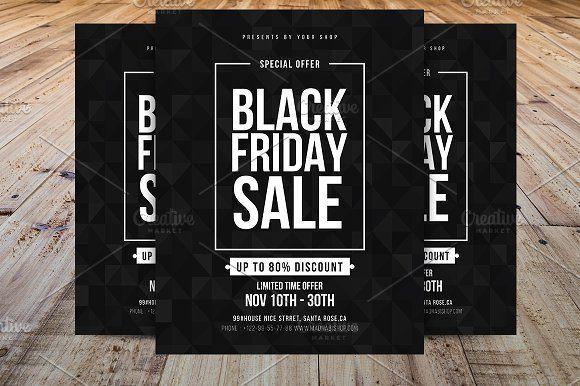Minimal Black Friday Flyer Template by Madhabi Studio on - black flyer template