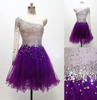 Grape Homecoming Dress,One Shoulder Homecoming Dresses,Tulle Homecoming Gowns.Sweetheart dress,Short prom dress