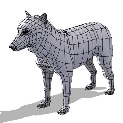Textured Low Poly Wolf 3D Model .max .obj .3ds .lwo .lw .lws .ma ...