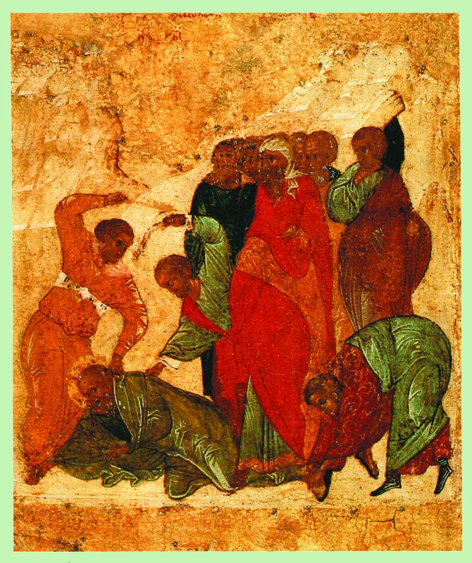 Начало XVI в.  Иоанн Богослов с житием.  Клеймо. Избиение Иоанна