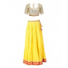 Yellow Lengha Set with Sequined Blouse