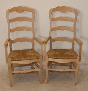 Pair Of Arm Dining Chairs Country French Rush Seats