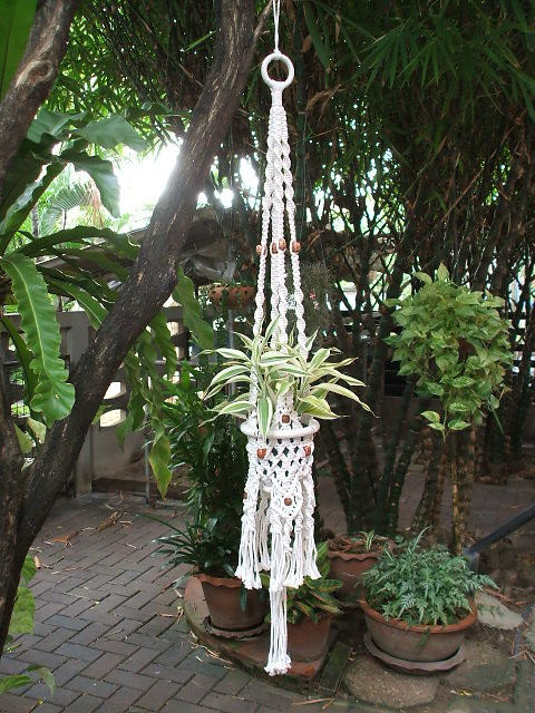 Amazing white macrame plant hanger  Inca by handiworkclub on Etsy