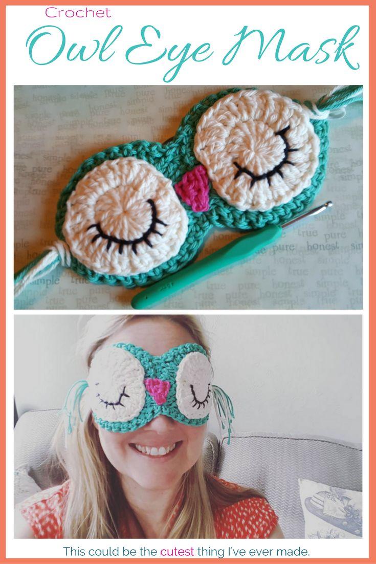 Adorable crochet owl eye mask - would be super cute for Christmas stocking stuffers. #crochet #diygifts