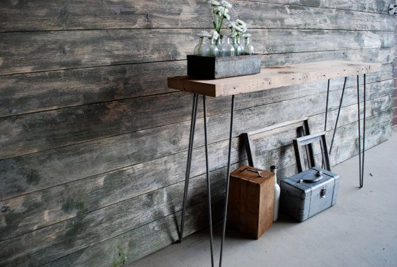 """5 ft. Reclaimed Wood Console/Sofa Table with Hairpin legs, Free & Fast Shipping (5ft x 11.5""""w x 30""""h, Standard 1.65"""" top)"""