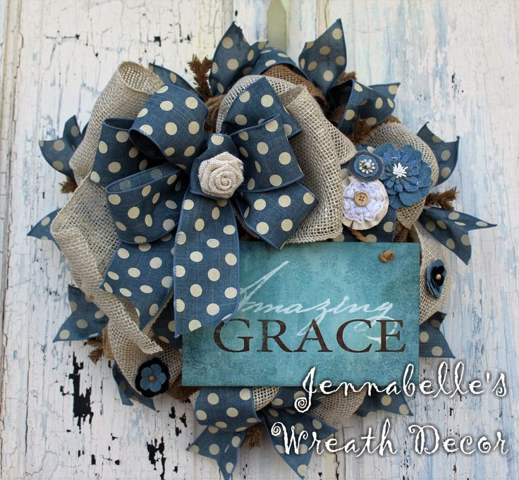 SMALL Burlap Wreath, All Season Wreath, Gift, Amazing Grace, Denim Blue, Creme, Burlap Rosettes, Wreath Mini by JennaBelles on Etsy https://www.etsy.com/listing/265330407/small-burlap-wreath-all-season-wreath