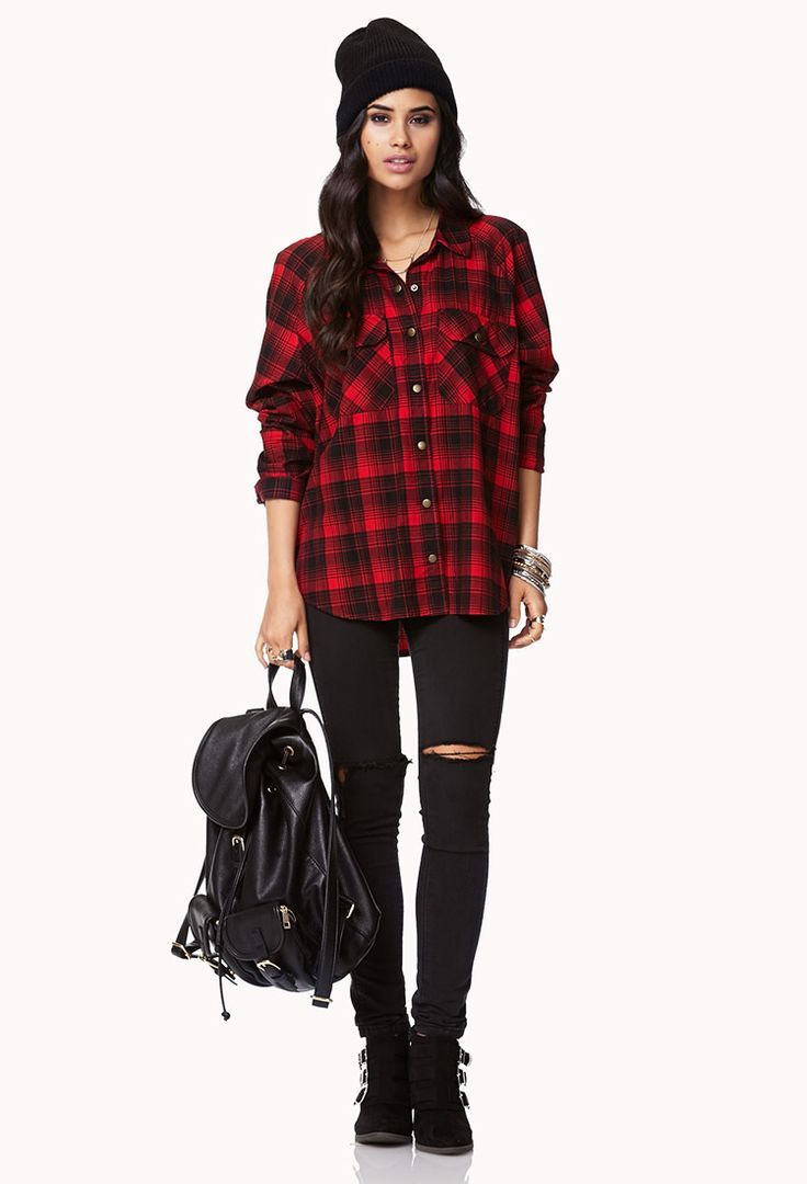 original red plaid shirt outfit