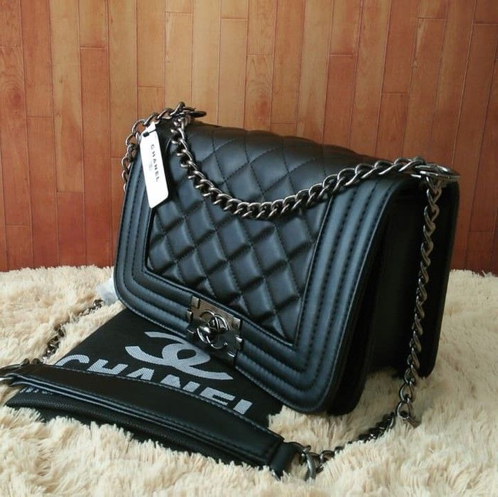9f31417efecf78 Branded Chanel Boy Mini Women's Black Chain Strap Sling Bag Price: IDR  245,000 How to order: Screenshoot produ ... #bag #hangout #suppliertas #tas  ...