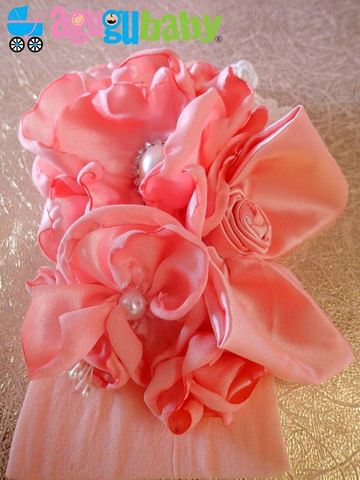 Salmon Pink Nylon Baby Headband