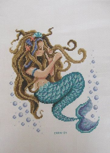 Mermaid Free Cross Stitch Chart Needlepoint Pattern