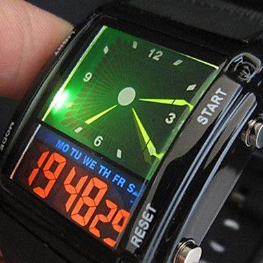 dos homens esportes relógio colorido levou pulseira de silicone multi-função digital de – EUR € 10.88