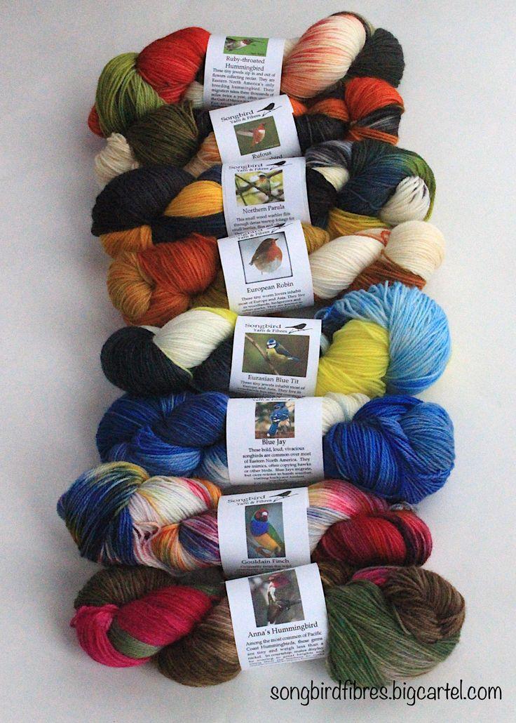 Fingering Sock Yarn for durable, cozy socks. 80/20 SW Merino/nylon. Knitters and crocheters will love the gorgeous bird inspired colours.