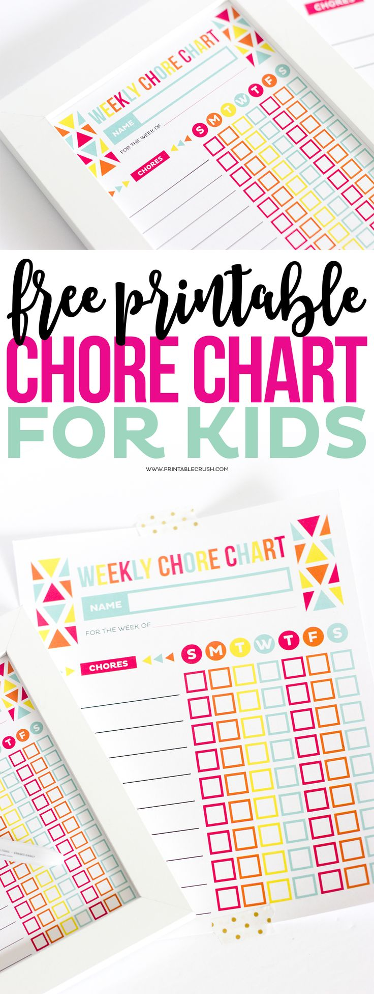 Download this FREE Printable Chore Chart for Kids to keep track of the chores your children are completing throughout the week. It will help them learn to be responsible and you can reward them for their behavior.