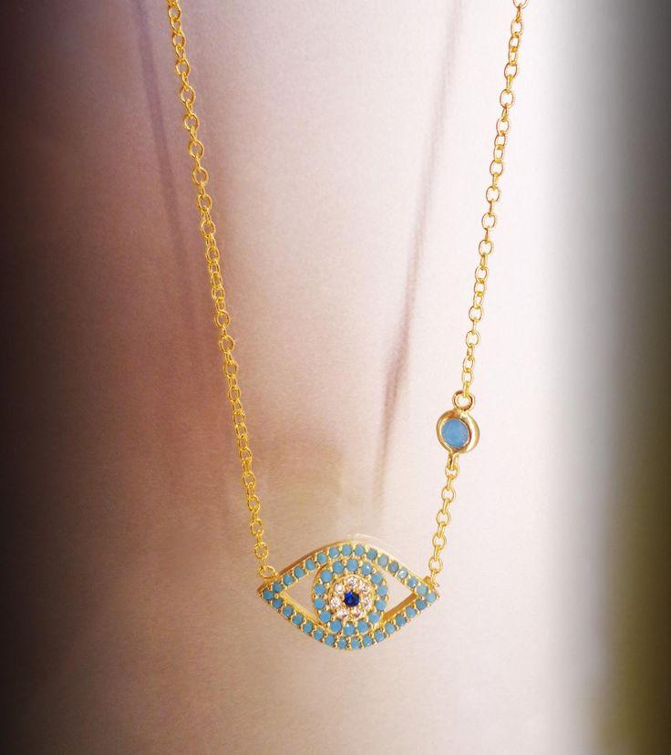 Maravilloso colgante de Plata Sterling 925 con baño de Oro de 18K con motivo de ojo Turco!!! #joyeria #colgante #jewelry #plata #bañodeoro