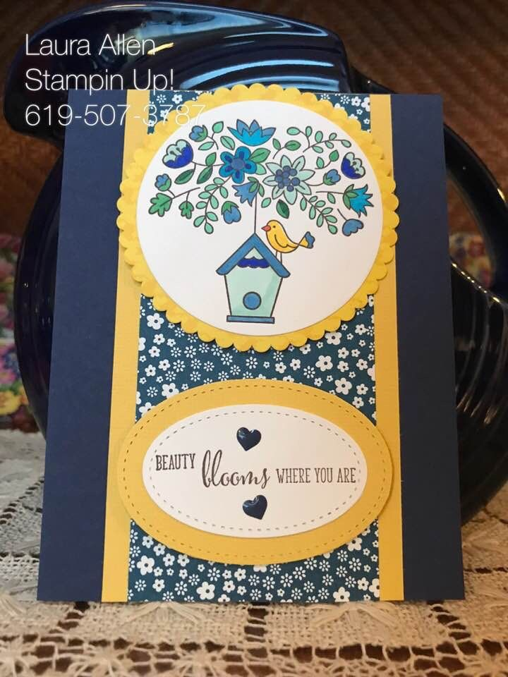 I used the Flying Home stamp set from the new Occasions Catalog 2018 from Stampin Up! I love bird Houses.