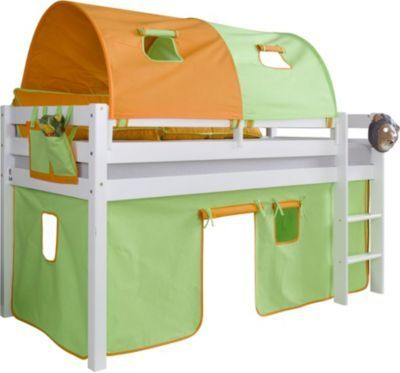 Relita Halbhohes Spielbett Alex mit Vorhang, 2-er Tunnel und Tasche, Buche massiv, weiß lackiert Jetzt bestellen unter: https://moebel.ladendirekt.de/kinderzimmer/betten/hochbetten/?uid=b91c48d5-8fa8-5889-98cc-4c36b745fb04&utm_source=pinterest&utm_medium=pin&utm_campaign=boards #kinderzimmer #kleinkindmöbel #hochbetten #betten