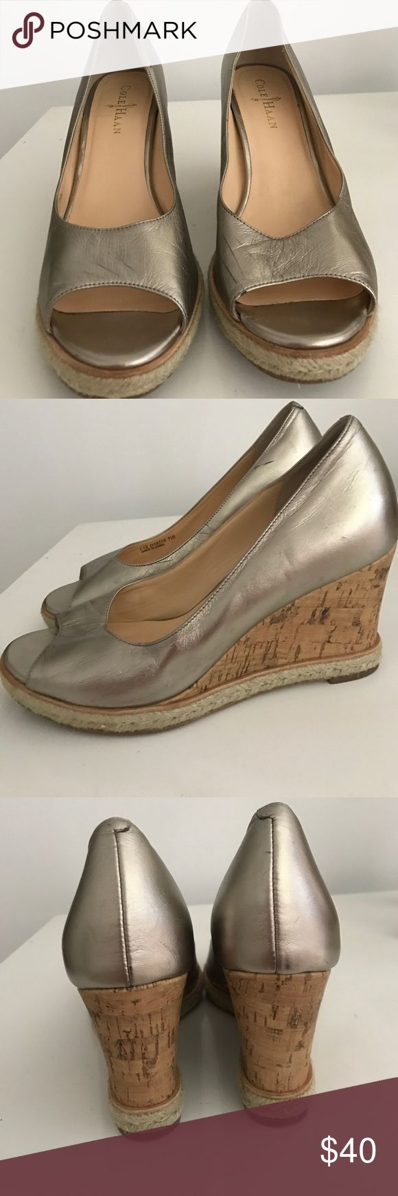 Cole Haan metallic wedges Very comfy, easy to walk in Cole Haan metallic/cork wedges. Worn only a few times, no real signs of wear and tear! Cole Haan Shoes Heels