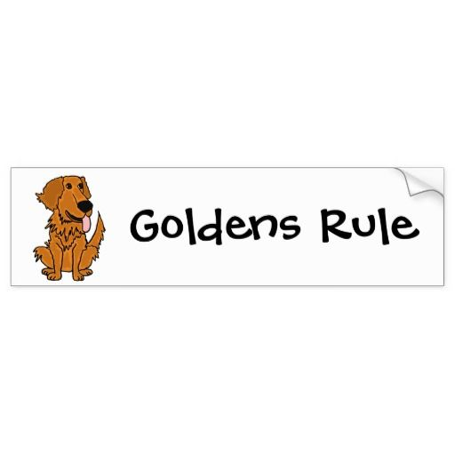 AQ- Funny Golden Retriever Dog Cartoon Bumper Sticker
