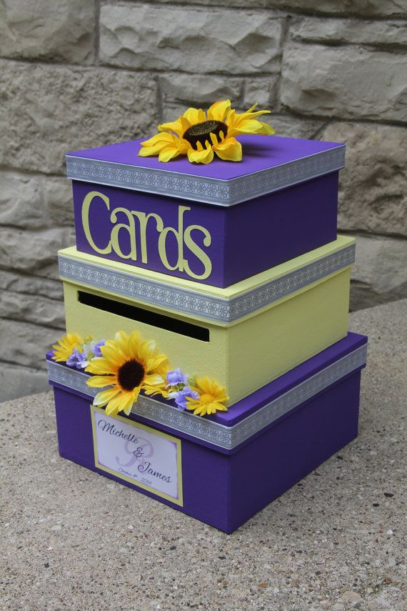 Custom Wedding Card Box, 3 Tier, Card Holder, Square, Purple and Yellow, Sunflowers, Wedding Decor