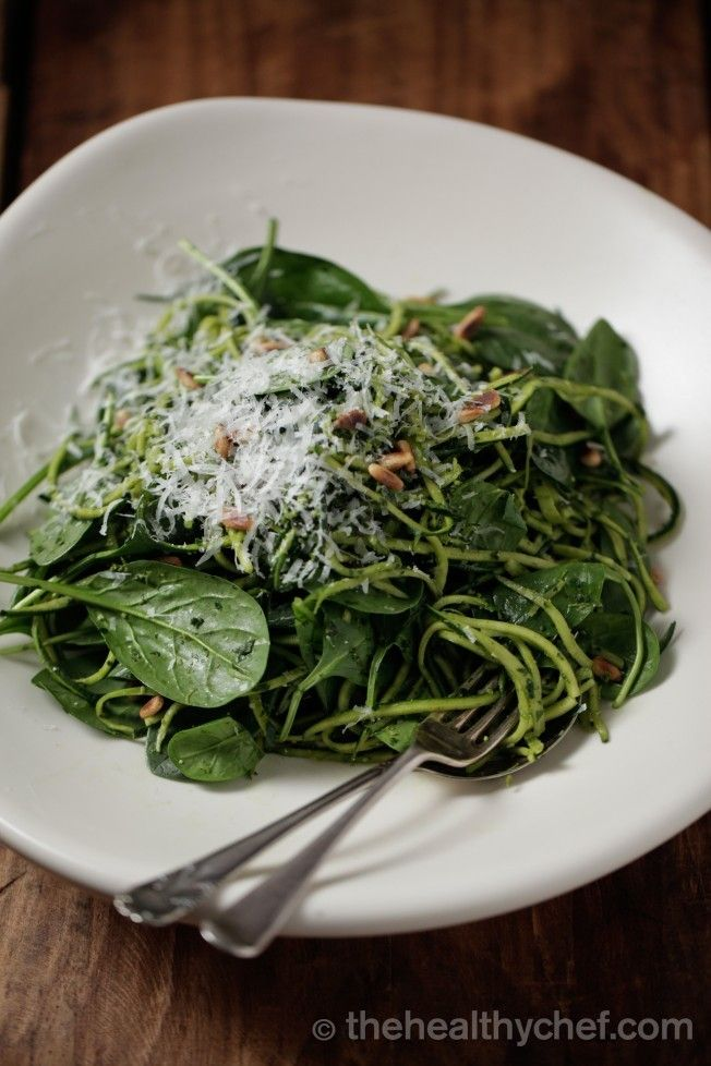 Zucchini Linguini with Spinach + Basil Pesto