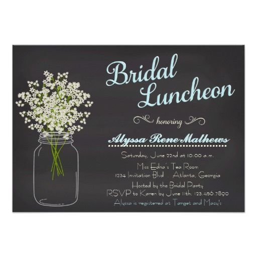 Chalkboard Mason Jar Baby's Breath Bridal Luncheon Invites