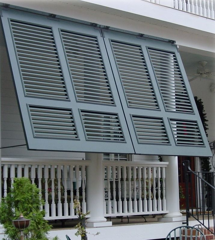Custom Bahama-Bermuda Shutters. Durable aluminum construction. Functional for shade and privacy, Beautiful details.  Greenville, Greer, Simpsonville SC