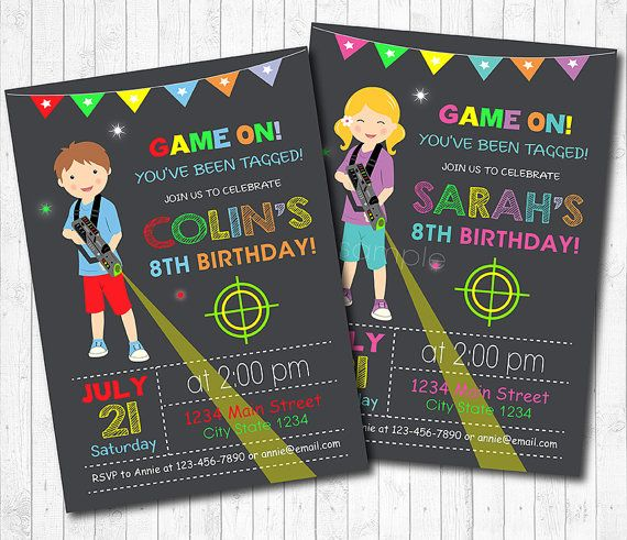 Laser Tag Invitation, Laser Tag Invite, Laser Tag Birthday, Lazer Tag Party, Printable