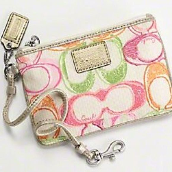 Coach Poppy Wristlet Multi-colored gently used coach wristlet Coach Bags Clutches & Wristlets