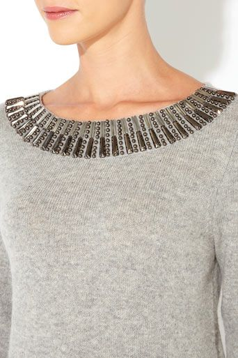 Grey Embellished Sweater