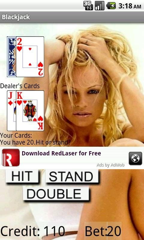 Pamela Anderson photo gallery with a great game of Blackjack. try to get 21 with Pamela Anderson distracting you.<br><br>Pamela Anderson photo gallery with a great game of Blackjack. Try to get 21 with Pam distracting you.<br><br>Ad moved to increase picture view ability.<br><br>Some of the pictures for Pamela Anderson are too hot for minors. 18+ with the App. Although the pictures are hot, there is no Pamela Anderson nudity.<br><br>This app is blackjack, the more you win the more you see of…