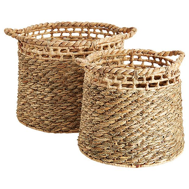 Set of 2 Water Hyacinth Storage Baskets