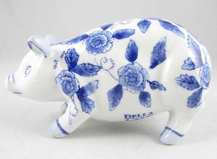 Ganz Bella Casa White Pig Figurine Porcelain Blue Floral Design Light Blue Ears Ganz