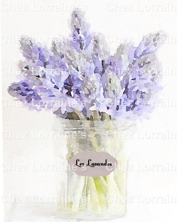 Les Lavandes:  A Fine Art Watercolor Print French Cottage Chic Style Minimalist Floral Bouquet Home Decor
