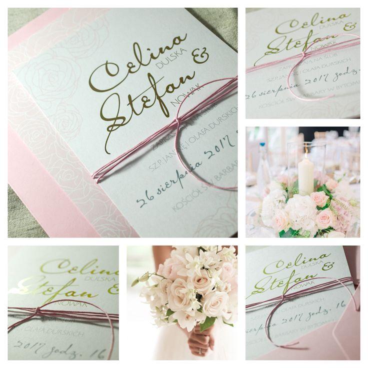 Zaproszenia ślubne, różowe, przewiązane woskowym sznurkiem, różowa koperta bendea.pl