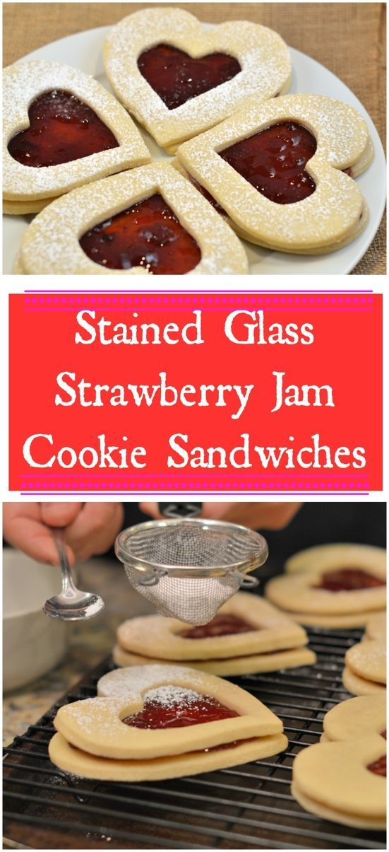 Stained Glass Strawberry Jam Cookie Sandwiches are the perfect sweet treat for Valentines Day!