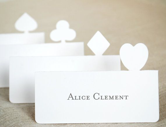 Playing Card Suite Place Cards Set of 24 by BluefinWorks on Etsy, $14.40