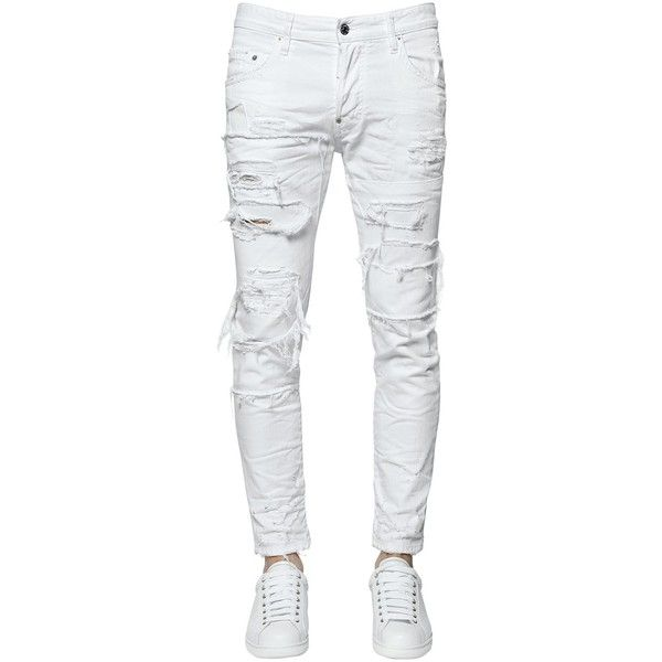 Dsquared2 Men 16cm Skater Destroyed Cotton Denim Jeans ($550) ❤ liked on Polyvore featuring men's fashion, men's clothing, men's jeans, pants, men, bottoms, jeans, white, mens distressed jeans and mens destroyed jeans