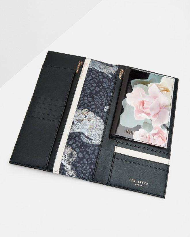 Porcelain Rose leather travel wallet - Black | Gifts for Her | Ted Baker