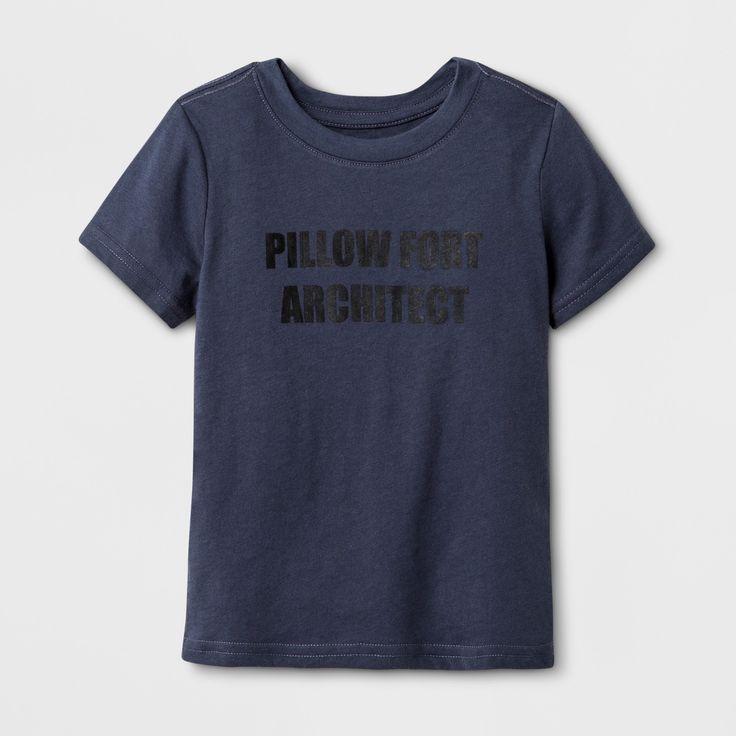 Toddler Kids' Short Sleeve Pillow Fort Architect Graphic T-Shirt - Cat & Jack Gray 12 M, Toddler Unisex