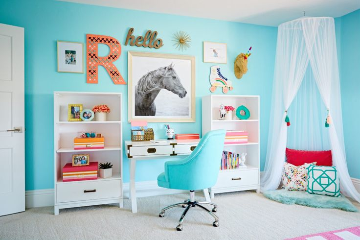 Eclectic Aqua Girls Bedroom - great desk + homework station with a fab gallery wall!