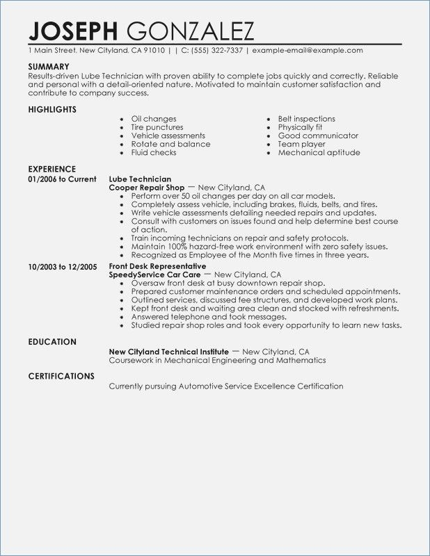 Unfor table Lube Technician Resume Examples to Stand Out Resumes