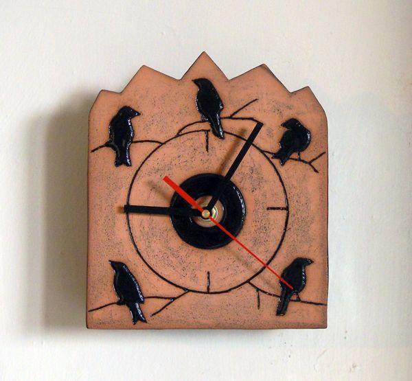 Terracotta blackbird clock