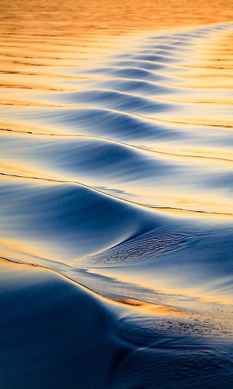 Ripples ~ Waves created by a boat on totally flat ocean. The colours are created by the setting sun. Location: Exmouth Gulf / Western Australia, © Sascha Unger ~ aabzimaging on Redbubble