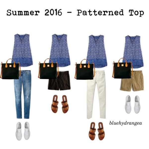 Summer Wardrobe 2016 - Patterned Top by bluehydrangea on Polyvore featuring Boden, J.Crew, Steve Madden, Superga and Dooney & Bourke