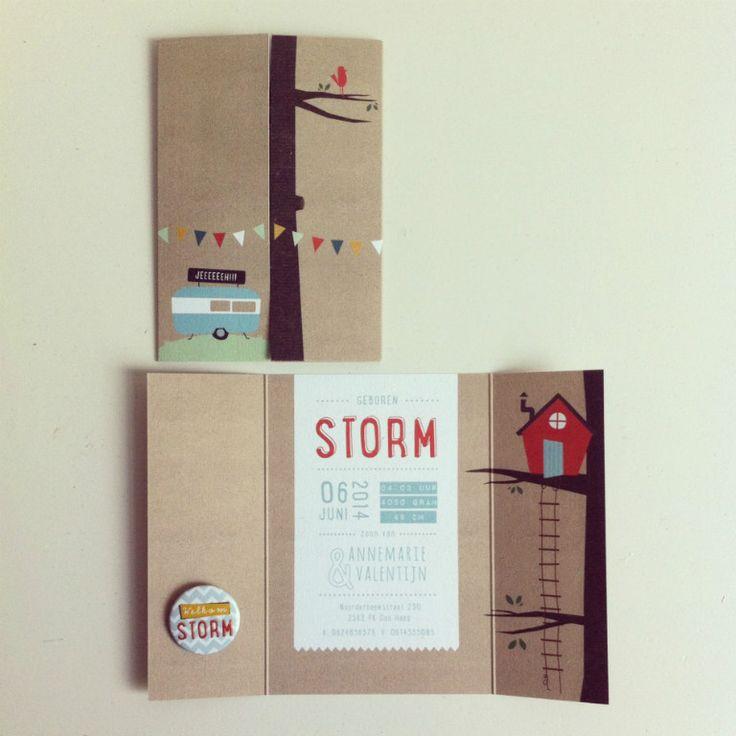 geboortekaartje met button voor Storm