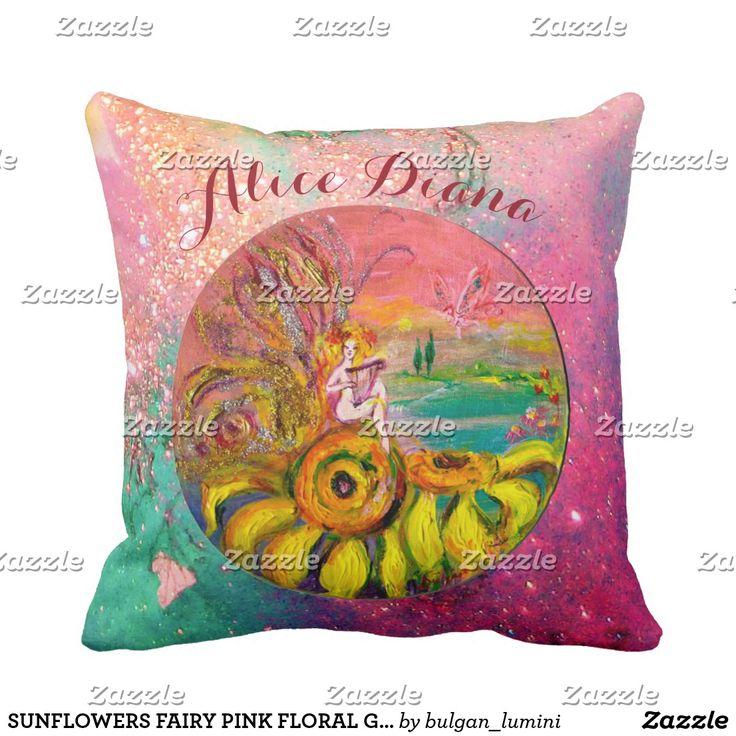 SUNFLOWERS FAIRY PINK FLORAL Girl Baby Status Throw Pillow #flowers #birth #newbaby #babystatus #decor #fantasy
