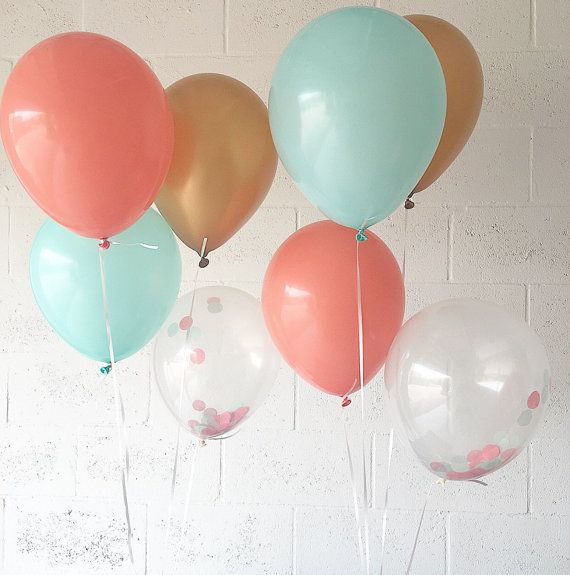 Coral Mint Gold Latex Balloons Coral Mint Gold Party Balloons
